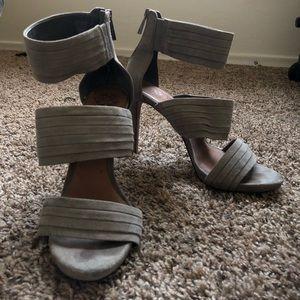 Vince Camuto grey suede strap heels